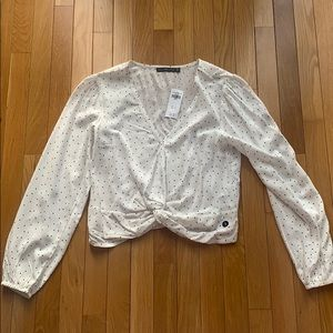 Abercrombie polka dot blouse with knot front, NWT